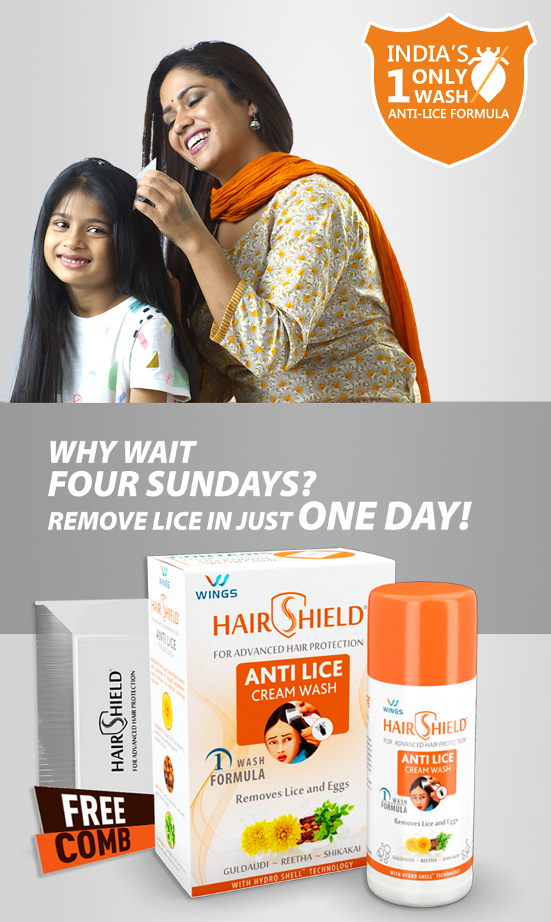 Hairshield India's 1 only wash anti-lice formula | In's No 1 Head Lice Treatment Product